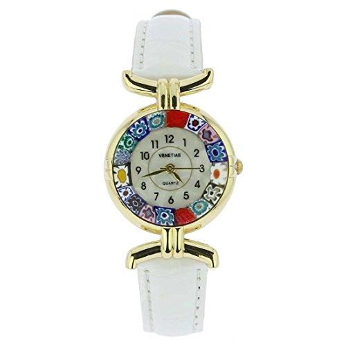 Montre Murano Millefiori avec Bracelet en Cuir - Blanc