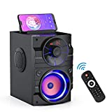 Portable Bluetooth Speakers with Light, Wireless Big Speakers with Subwoofer, FM Radio, LED Lights, EQ, Booming Bass, Bluetooth 4.2 Stereo Loud Outdoor/Indoor Party Speakers for Home, Camping, Travel