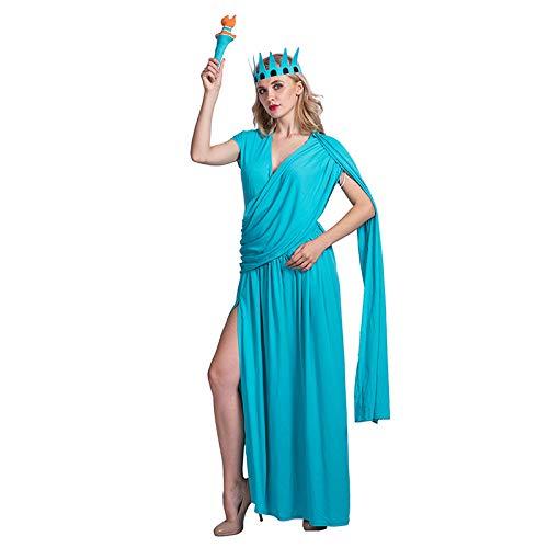 Estatua de la Libertad Vestido de 3 Piezas Conjunto de Disfraces para Damas - Corona, antorcha y Vestido Halloween, Carnaval y Cosplay - un tamaño de 160-175cm