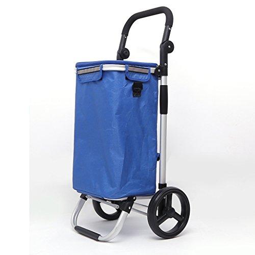 Warenkorb Trolley Last 25kg Kapazität 40L Aluminiumlegierung 8-Zoll-Räder Mode Klappgriff verstellbare blaue Tasche Wärmedämmung (Farbe : B)