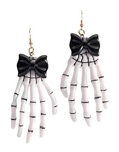 Forum Novelties BA1744 Boucles d'oreilles Main pour Femme, Blanc, Noir, Taille Unique