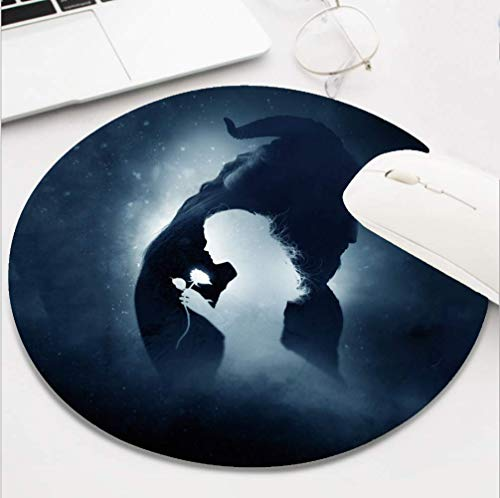 Round Gaming Beauty and The Beast Mouse Pad, Non-Slip Rubber Mousepad for Desktop Laptop Computer Keyboard,Funny Cute Office and Home Gift (8 Inch)