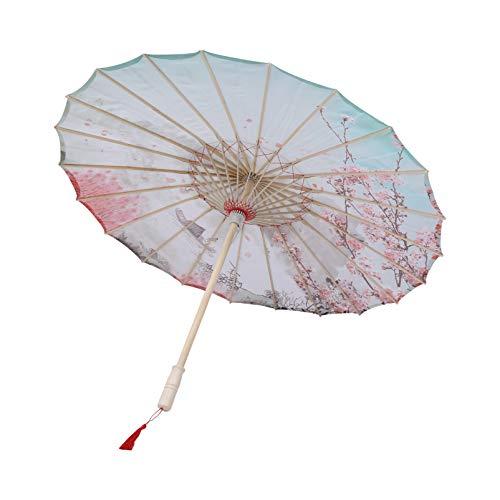 TOYANDONA Ombrello di Carta Oliato Cinese Giapponese Ombrello Parasole Vintage Asiatico Ombrello di Seta per Feste di Matrimonio Fotografia Costumi Cosplay (Rosso)