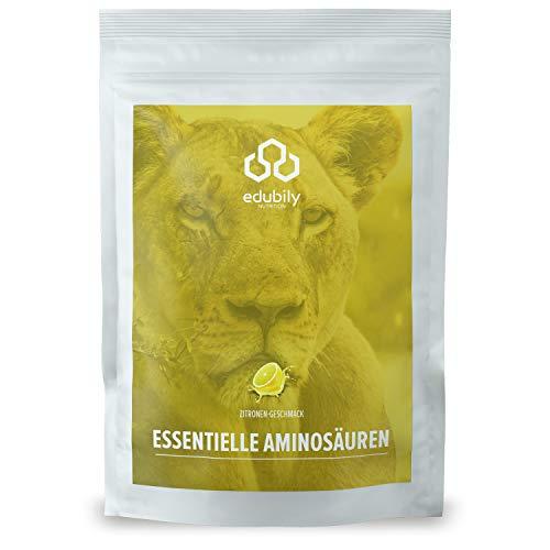 edubily® veganes EAA Pulver • Hochwertiger EAA-Komplex aus 8 essentiellen Aminosäuren • Mit leckeren Geschmacksrichtungen • 100% Recyclingfähig