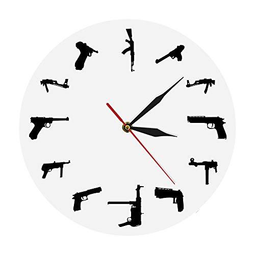 KFSG Reloj de Pared Armas Familia Reloj de Pared de acrílico Reloj Decorativo Moderno para el hogar Reloj Ejército Arte de Pared contemporáneo