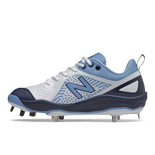 New Balance Women's Fresh Foam Velo V2 Metal Softball Shoe, Navy/Carolina Blue/White, 9.5