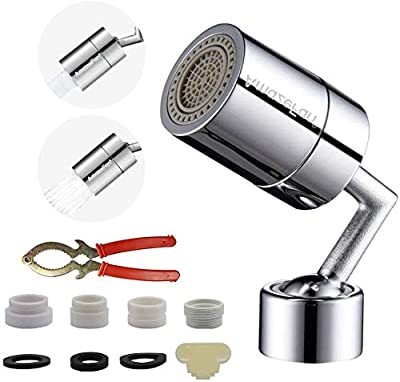 360 Degree Swivel Sink Faucet Aerator, Big Angle 2.5 GPM Large Flow Aerator Dual Function Kitchen Faucet Aerator, Polished Chrome