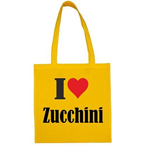 Tasche I Love Zucchini Größe 38x42 Farbe Gelb Druck Schwarz