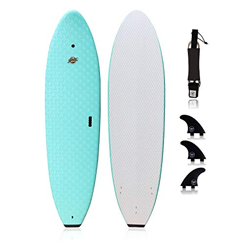 South Bay Board Co. - Premium Beginner Soft Top Surfboards - 7' | 8' | 8'8 Sizes (7' Ruccus - Aqua, 7' Ruccus - Aqua)