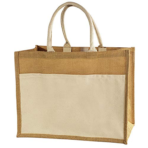 Jute Burlap Tote Bags w/Canvas Front Pocket Easy-to-Decorate Vintage Totes for Rustic Chic Weddings, Shopping, Travel, Arts & Crafts by TBF Bags (Pack of 12)