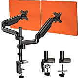 Dual Arm Monitor Stand, Full Motion Adjustable Gas Spring Monitor Mount Riser with C Clamp/Grommet Base for Two 17 to 32 inch LCD Computer Screens, Each Arm Holds up to 17.6lbs