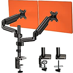 Dual Arm Monitor Stand, Full Motion Adjustable Gas Spring Monitor Mount Riser. By Huanuo