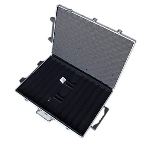 YOULEMIGN 1000Pc Deluxe Poker Chip Case in Silberfarbe - Mit Krawattenstange - Verstärkt, Stark, Robustes Design