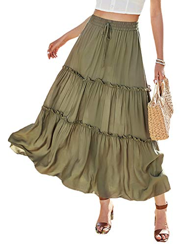 Floerns Women's Casual Frill Trim Drawstring Waisted A Line Long Maxi Skirt Army Green S