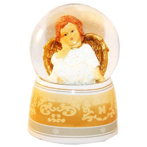 20039 Schneekugel Engel beige/weiß mit Spieluhr 140mm hoch