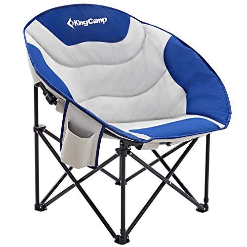 KingCamp Sedia Pieghevole da Campeggio Moon Sedia Acciaio Resistente con portabicchieri e Supporto per Tasca Posteriore Fino...