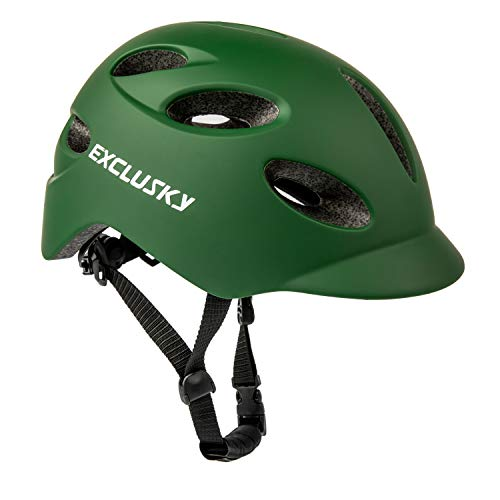 Exclusky Adult Bike Helmet with Rechargeable USB Safety Light for Urban Commuter CE Certified (army green)