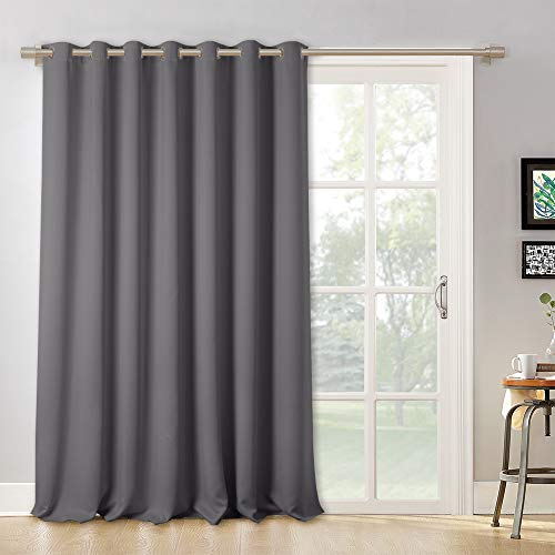 RYB HOME Blackout Patio Door Wide Curtain - Large Solid Window Treatment Curtain Shades Energy Smart Thermal Insulated Vertical Blind Drapes for Sliding Glass Door by, Wide 100 x Long 95 inch, Grey