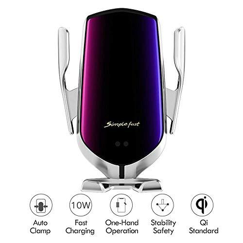 Wireless Autoladegerät Halterung,Kabelloses Auto Ladegerät, 2 in 1 Qi 10W Schnellladung Automatisches Spannen Entlüftung Halterung Handyhalter für Samsung S9/S9+/S8+/ Apple iPhone 8 Plus/X/XS/Max/XR