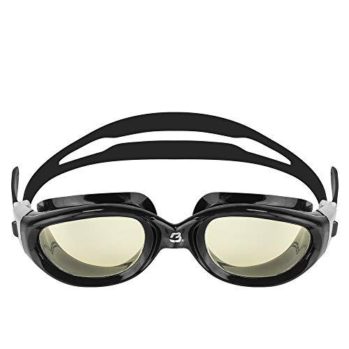 BARRACUDA Occhialini da nuoto MANTA - Extra large, acque libere, protezione UV antiappannamento, montatura monoblocco, impermeabile, per adulti (13535) (MARRONE/NERA)