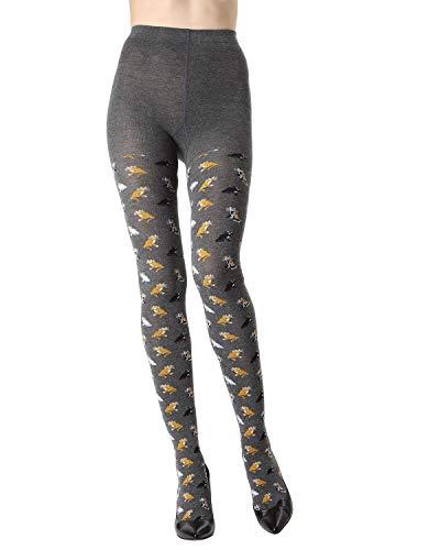 MeMoi Pretty Kitties Sweater Tights | Women's Novelty Hosiery Dark Gray Heather MTK02213 L/XL