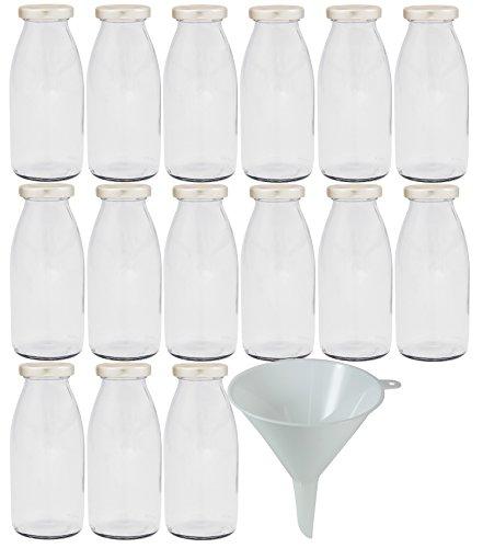 Viva Haushaltswaren - 15 x Glasflasche 250 ml mit silberfarbenem Schraubverschluss, als Milchflasche, Saftflasche & Smoothieflasche verwendbar (inkl. Trichter Ø 12 cm)