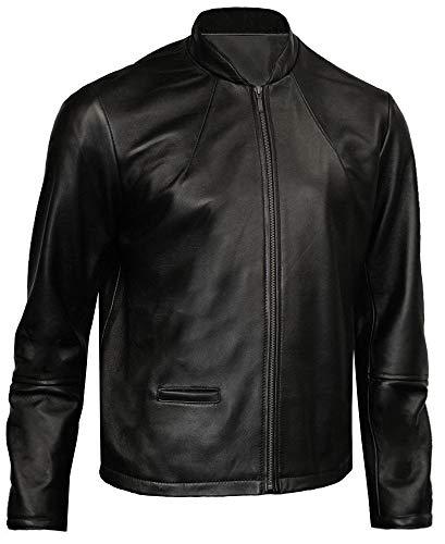 Leatherbox Giacca da Uomo in Pelle Nera Stile Motociclista. Nero M (Si Adatta al Petto Fino a 101,60 cm)