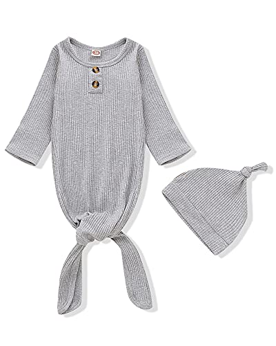 Baby Gown Newborn Cotton Pit Nightgown Long Sleeve Baby Sleeping Bags with Button Baby Boy Girl Coming Home Outfits Set with Hat Set Gray
