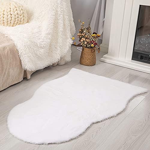 VOFUSHON Alfombra De Piel De Conejo Artificial,Antideslizante Lujosa Suave alfombras mullidas de Interior,Alfombra Salon Grandes Shaggy Adecuado para salón Dormitorio sof(60 x 90 cm,Blanco)