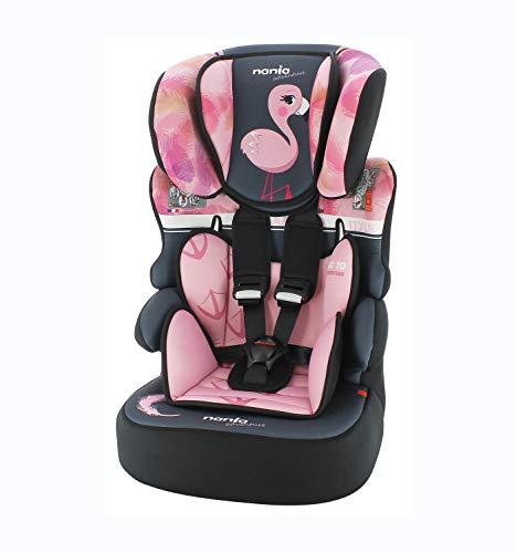 Seggiolino auto NANIA Beline - Gruppo 1/2/3 - (9-36 Kg) - produzione francese 100% - protezioni laterali - Flamingo