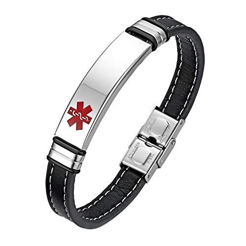 Flongo Pulsera de identificación médica Cruz Roja, Placa Personalizada de Acero Inoxidable Brazalete Alerta médica para alergias, Hombre Pulsera de Cuero Negro