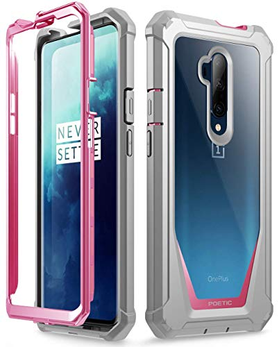Poetic Guardian Series Designed for OnePlus 7T Pro/OnePlus 7 Pro Case, Full-Body Hybrid Shockproof Bumper Cover with Built-in-Screen Protector, Pink/Clear