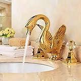 YYYes FacuetGolden Basin Faucet Swan Style Widespread Bathroom Basin Sink Faucet Bathroom Mixer Tap Dual Handle Crane Animal Shape Mixer Tap [Free Shipping]{Basin Faucet}
