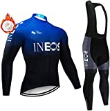 BSGB Mens Long Sleeve Cycling Jerseys Suit,Warm Cashmere Liner and 5D Gel Padded Long WindproofQuich-Dry Cycling Suits