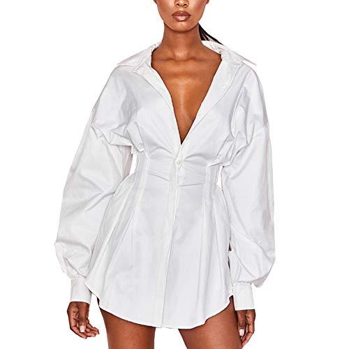 Vestido Mini Blanco Causal Camisa Larga Manga Suelta para Mujer Vestido Sexy Forma Blusa Larga Camisa Larga de Mujer Cintura Apretada (Blanco, S)