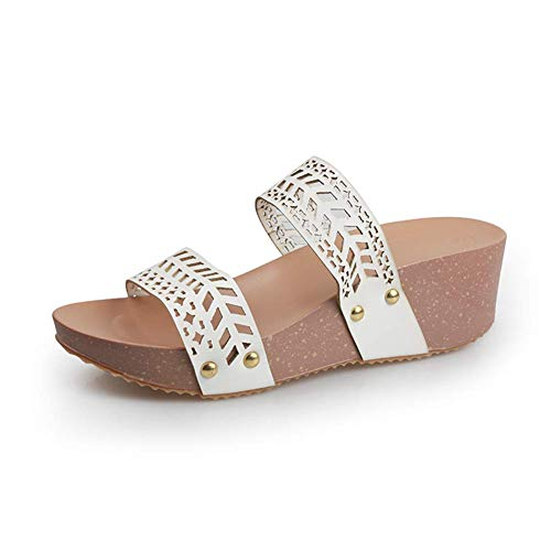 qazxsw Damen Slipper Wedge Platform Ledersandalen Sommer Ausgeschnitten Open Toe Mules Slip On Loafer Schuhe Komfort Anti-Rutsch Atmungsaktive Strandschuhe für Damen Mädchen