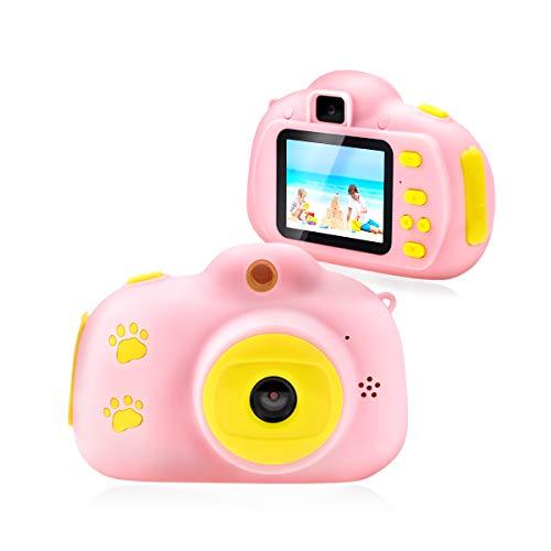Fotocamera per Bambini Giocattolo Videocamera Digitale per Bambini Giocattolo per Bambini Schermo HD da 2 Pollici 1080P con 32 GB TF Card Giocattoli Regalo Ragazzi Ragazze da 3 a 12 Anni (Rosa)