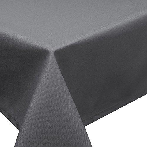 Schwar Textilien Nappe antitache d'aspect lin Effet lotus, lavable Plusieurs tailles, formes et couleurs, Polyester, anthracite, eckig 160x360 cm