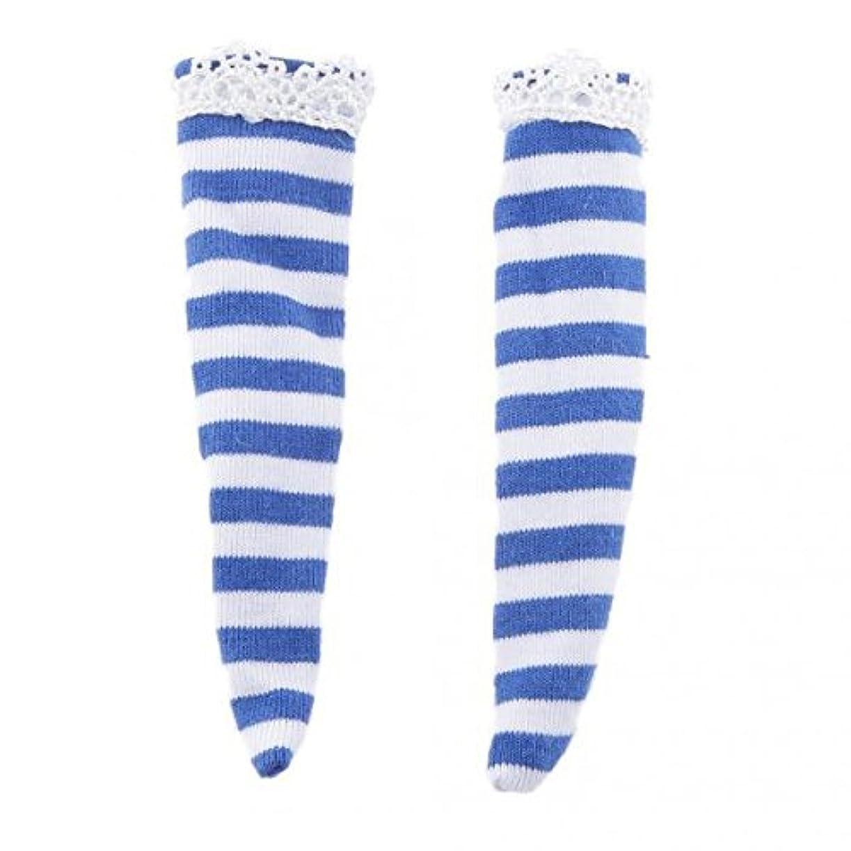 不均一放映別の人形服 ドール服 レースストッキング ミニストッキング ソックス 12インチの人形対応 2ペア全5色 - ブルー