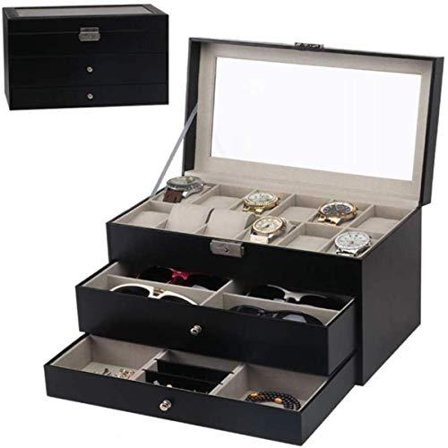 ZR&YW De Tres Capas Caja De Reloj Organizador, 12 Ranuras De Cajas...