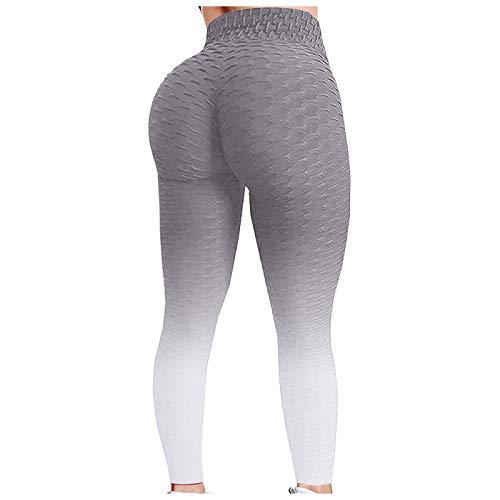 Mallas de Nido de Abeja para Mujer Pantalones de Yoga de Cintura Alta con Control de Abdomen Mallas Deportivas de Gimnasio, Azul Marino y Blanco, L
