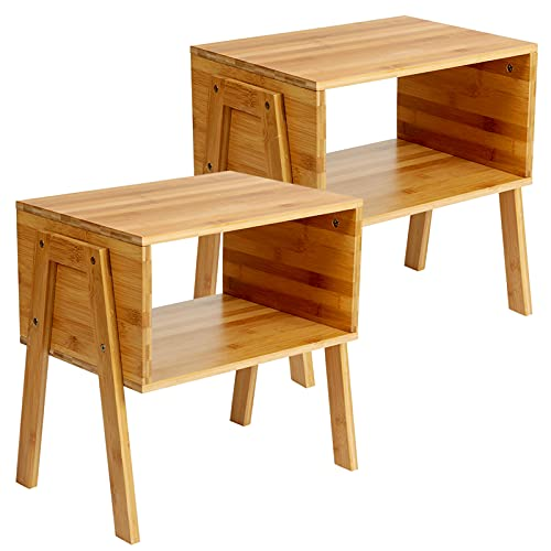 Bamboo Stackable End Tables, Living Room Nightstand, Bedside Tables for Bedroom/Nursery Room/Laundry Room/Study Room Small Spaces Storage by Pipishell, Set of 2