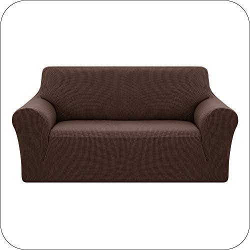 Amazon Brand - Umi Fundas para Sofa Funda Sofa 2 Plazas Elasticas Anti Gatos Funda Protectora para Salon Chocolate