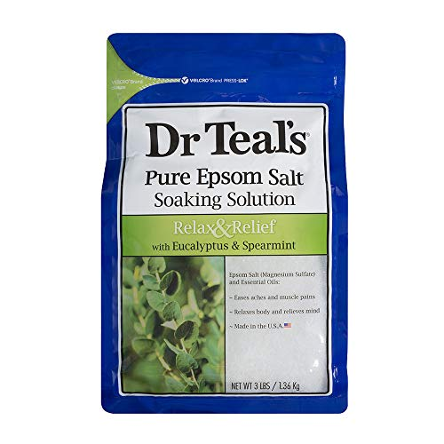 Dr Teal S Pure Epsom Salt Soaking Solution to relax e sollievo con eucalipto e menta, 1.36 kg