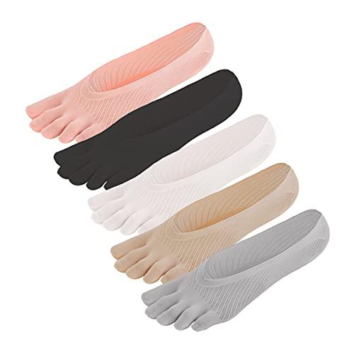Auptiz 5 Pares Calcetines de Cinco Dedos Únicos Invisibles para Las Niñas & Mujeres Suave Ligero y Transpirable Evita la Hinchazón, Almohadillas de Gel Antideslizantes, Talla Única-5 Colores