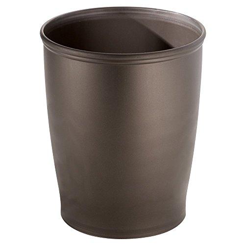 iDesign Kent Plastic Wastebasket, Small Round Plastic Trash Can for Bathroom, Bedroom, Dorm, College, Office, 8.35' x 8.35' x 10', Bronze