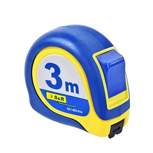 S&R Bandmass 3m Federbandstahl mit Magnet-Winkel, Nylon-Polymer beschichtetes Massband, schlagfestes Gehäuse Bandmaß, MAGNETO Serie | Zollstock Metermass (3,0m x 16mm)