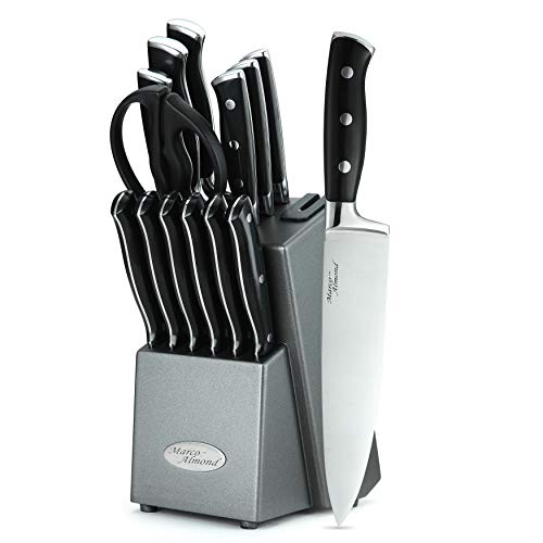Marco Almond KYA31 Japanese Stainless Steel Knives Set, 14 Pieces Cutlery Set Kitchen Knife Sets in Hard Wood Block with Built-in Sharpener, Full Tang Knife Block Set, Graphite Block, Best Gift