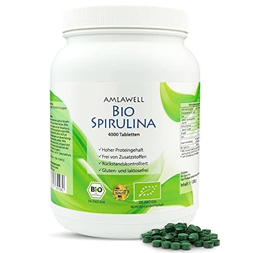 AMLAWELL Bio Spirulina - 1000 g Bio Spirulina Tabletten mit wertvollen Vitalstoffen, wie Eisen, und hohem Proteingehalt