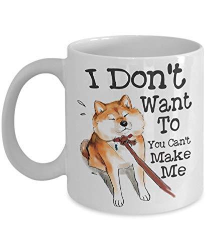 Lustige Tasse mit Shiba Inu Don't Want To You Can't Make Me Keramiktasse für Hundeliebhaber, Mutter, Vater, süßer japanischer Hund, Geschenk für Geburtstag, Halloween, Weihnachten